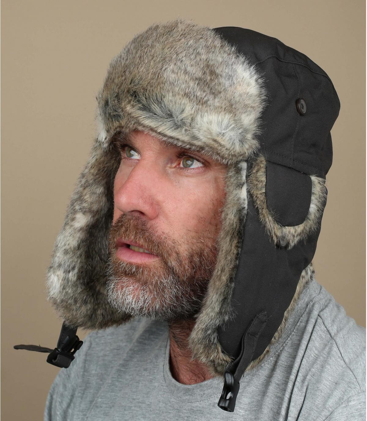 Dark grey trapper hat