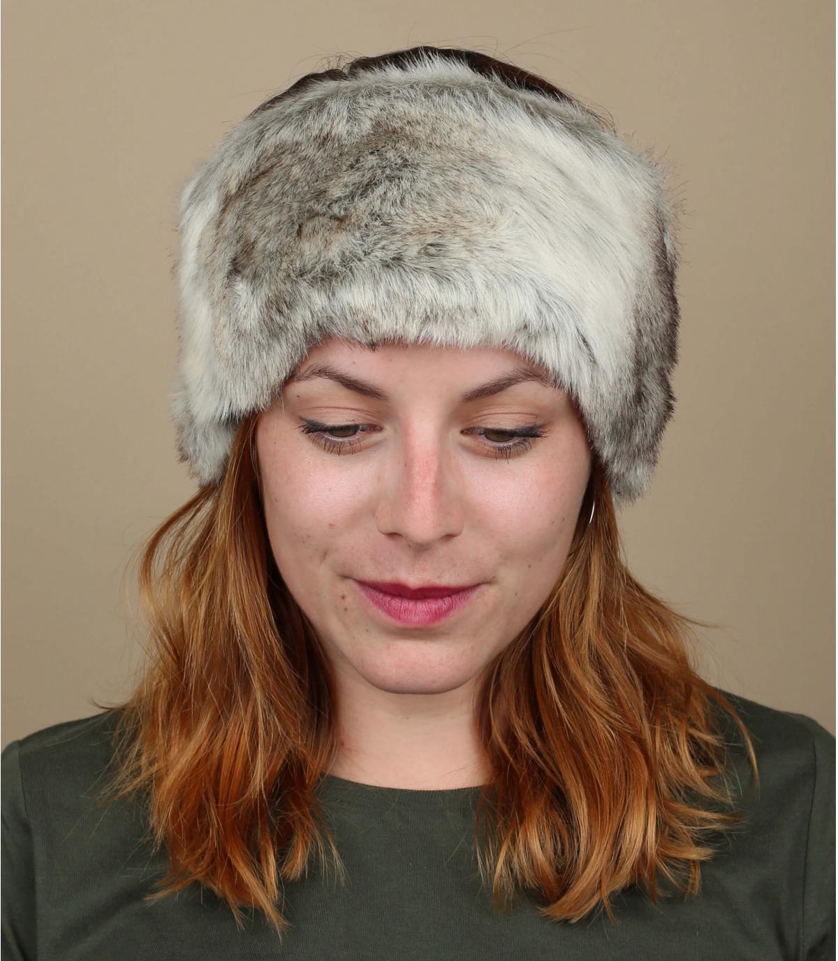 Gray fur headband