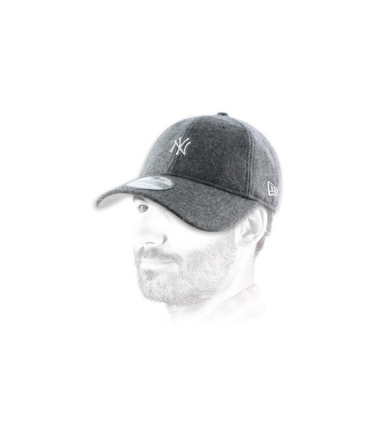 Gray wool NY cap