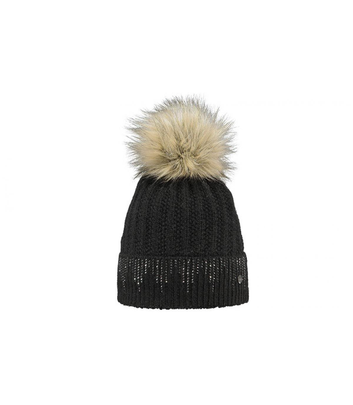 5a7c0346893 Black faux fur pom beanie - Marigold beanie black by Barts. Headict
