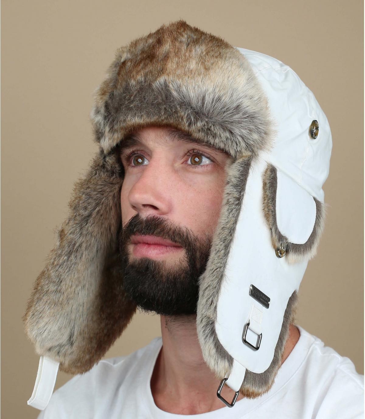 White barts trapper hat