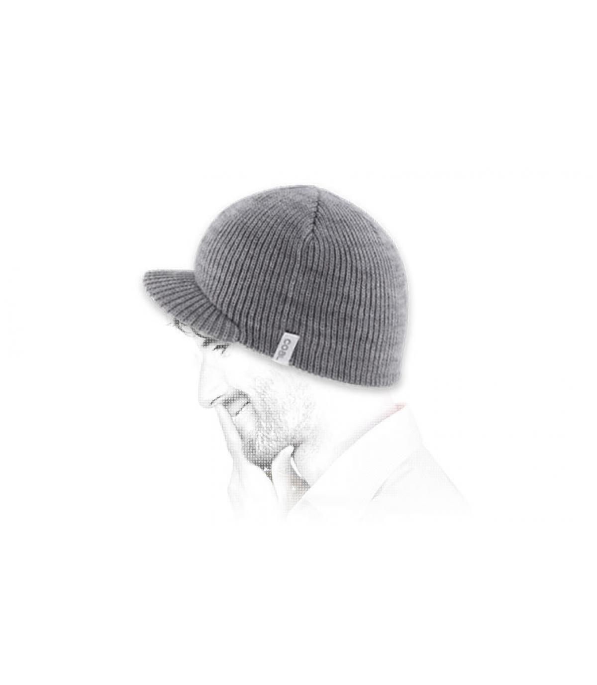 Grey visor beanie