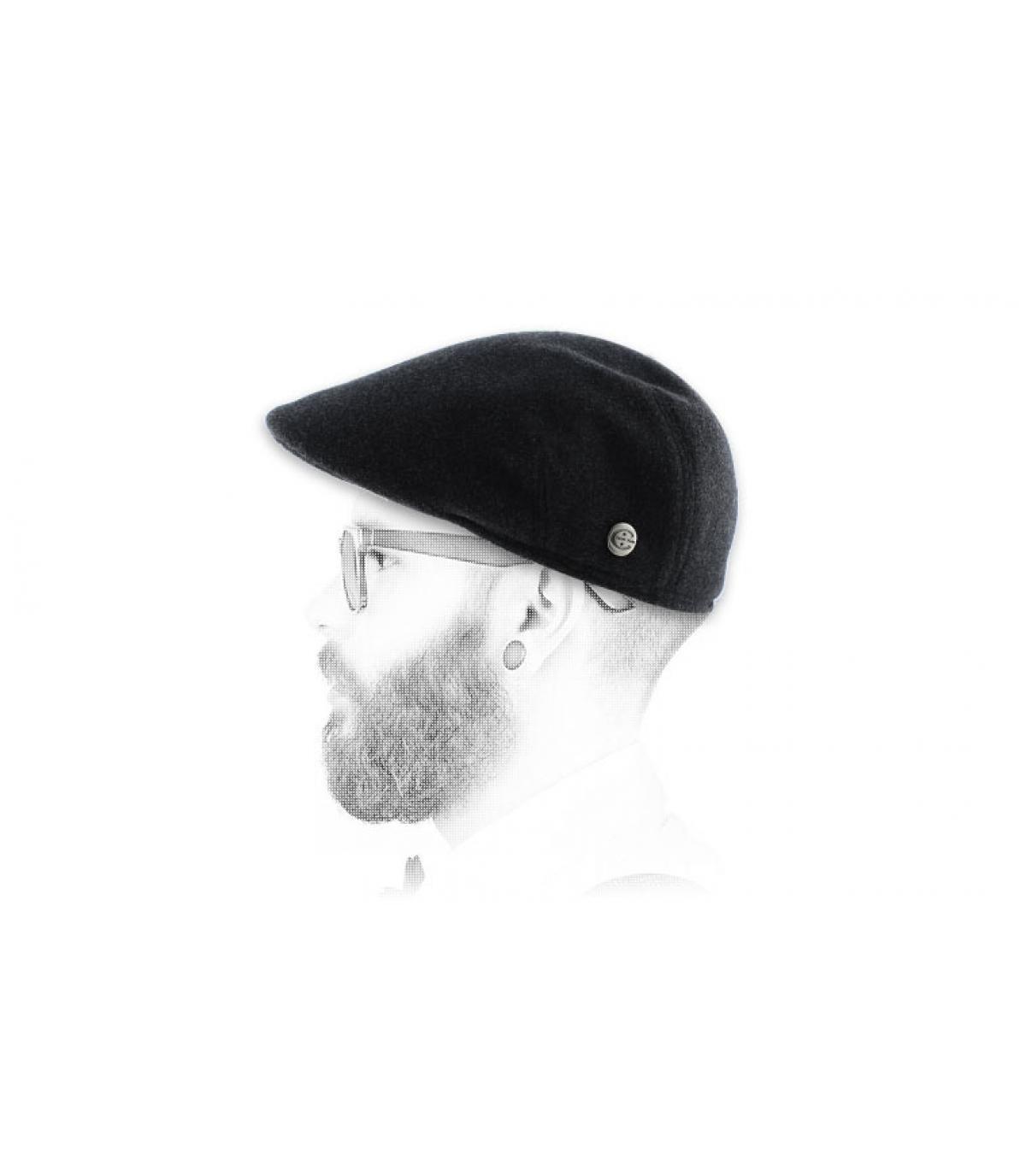Grey flat cap earflap