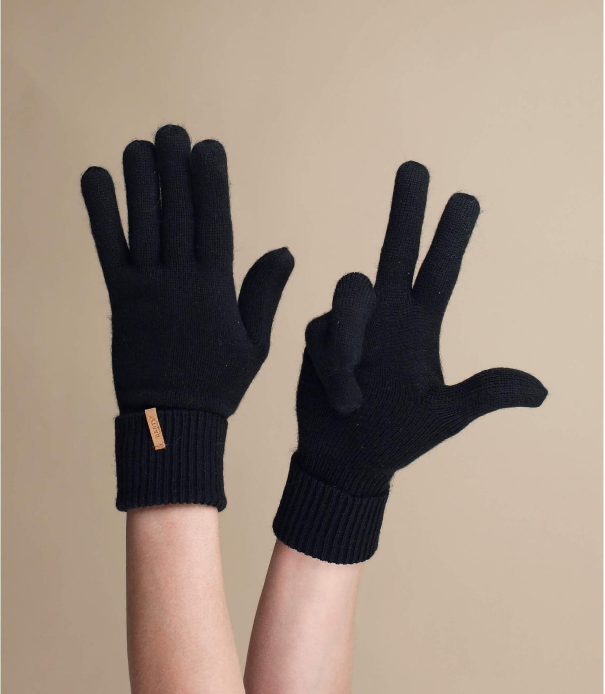 Thin black gloves
