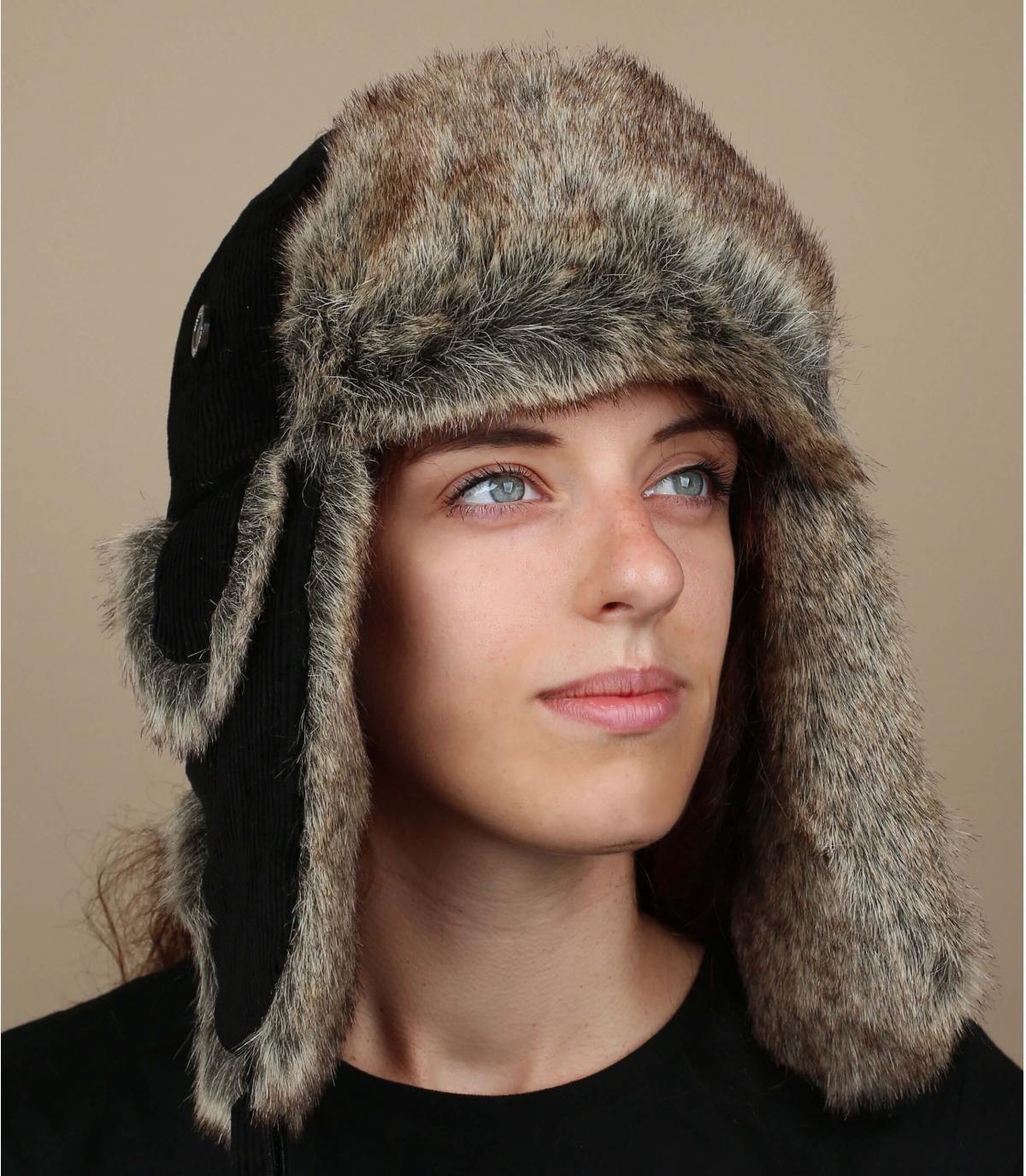 Womens cotton trapper hat