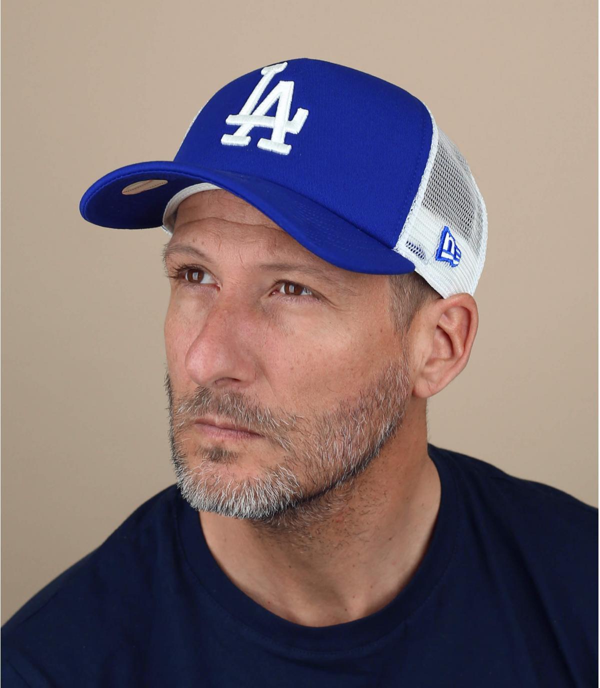 Blue LA trucker cap