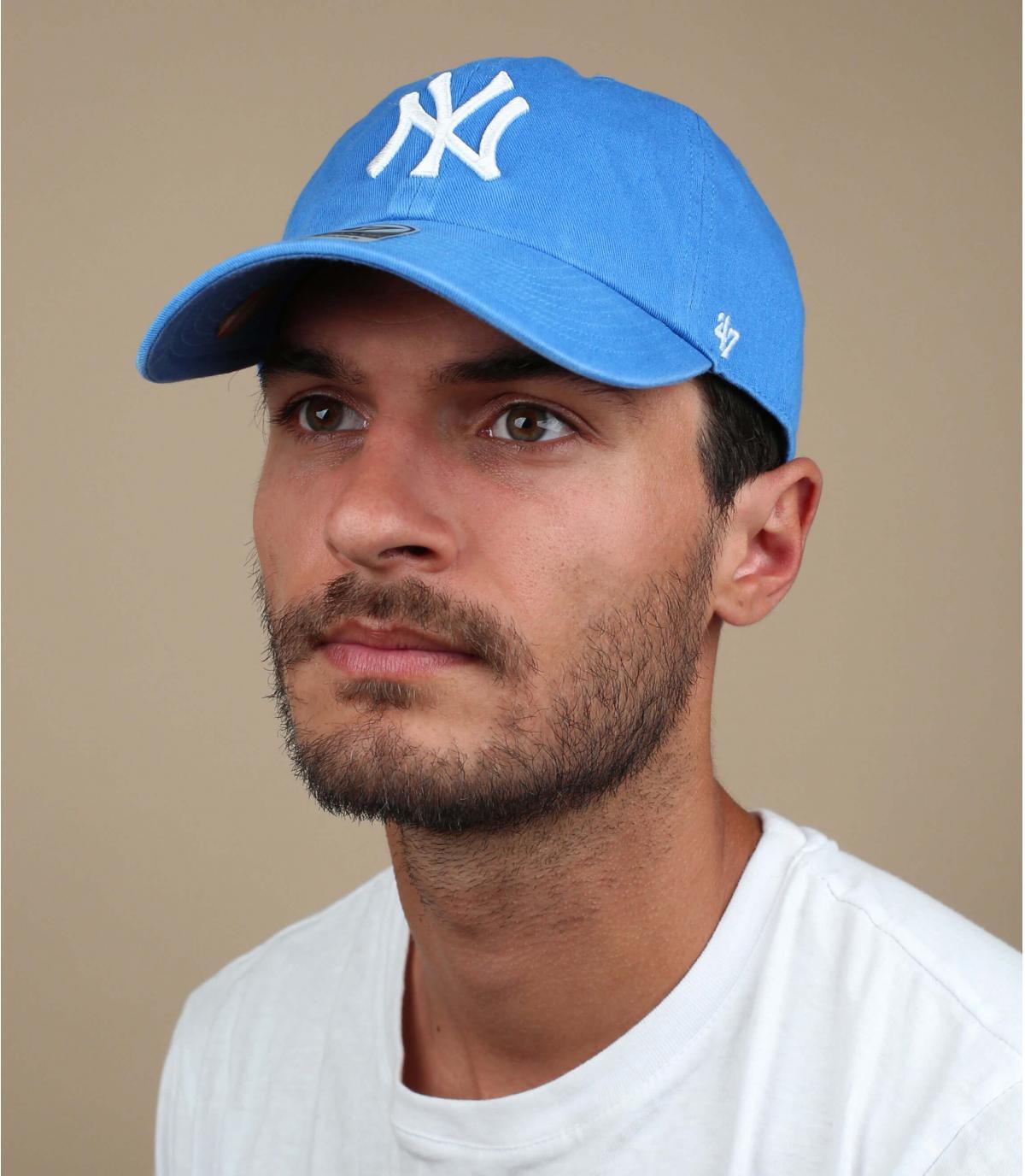 clear blue NY cap