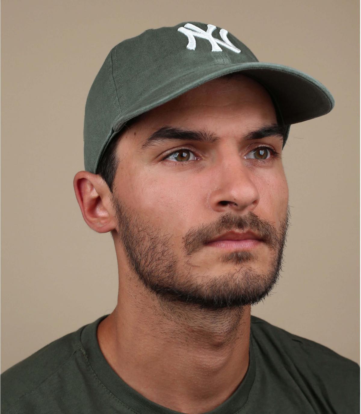 khaki green NY cap