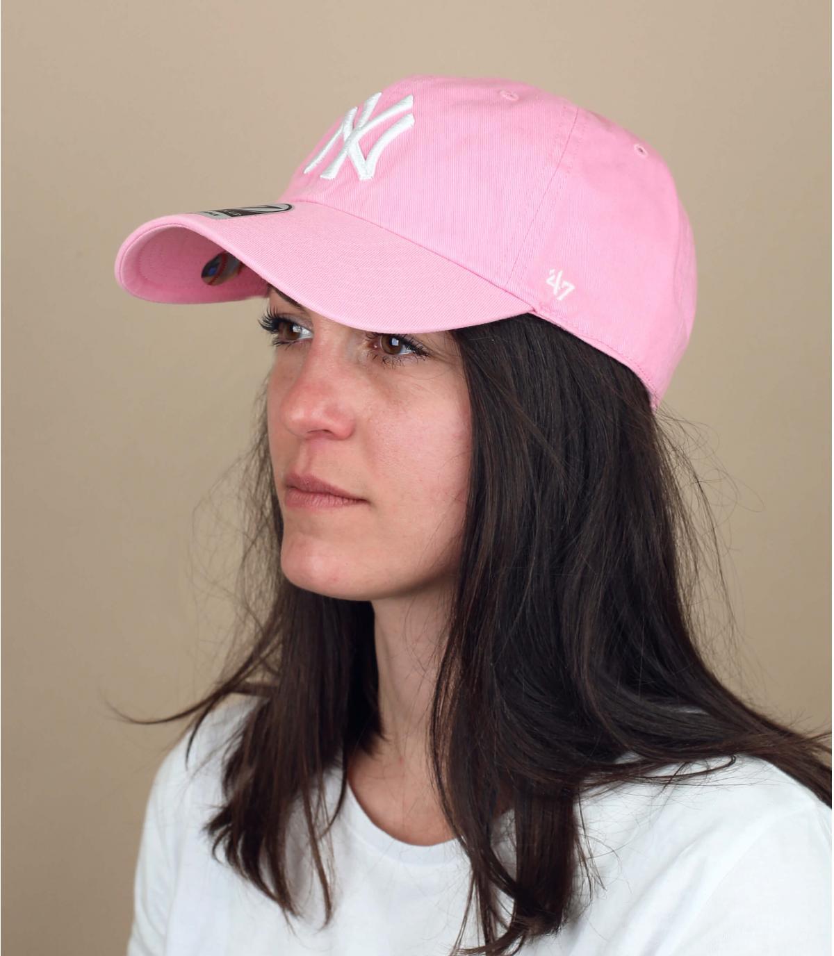 clear pink NY cap
