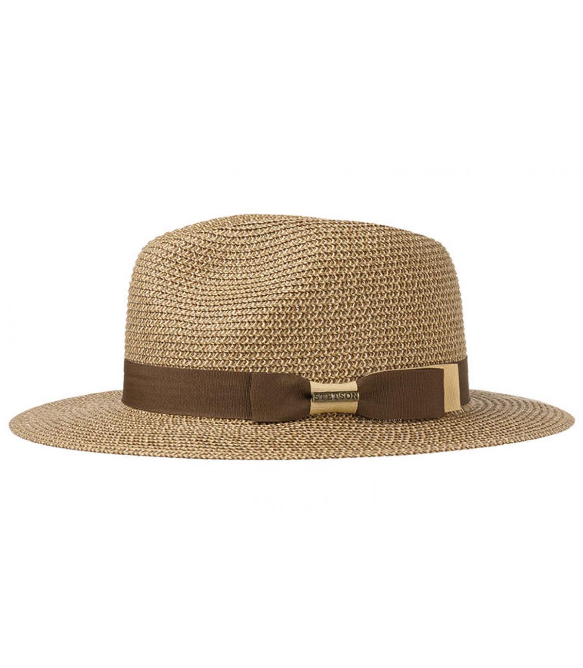 straw hat wide brim stripe - Traveller toyo braid brown beige Stetson -  image 1 ... 21385856f86