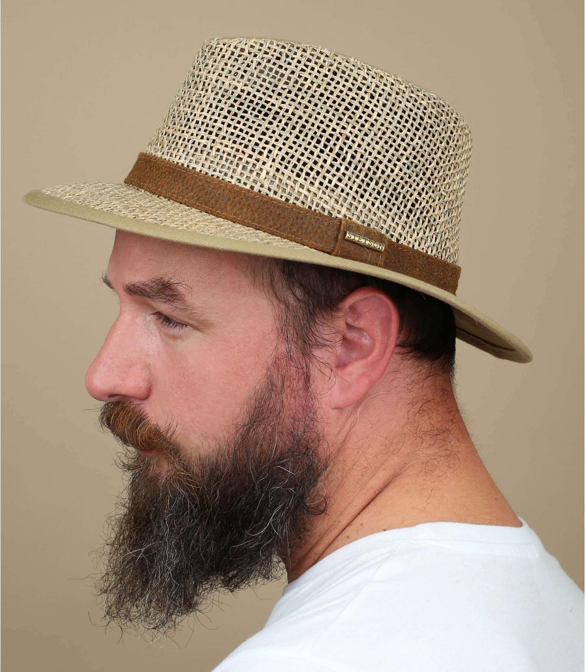 Stetson straw hat wide brim