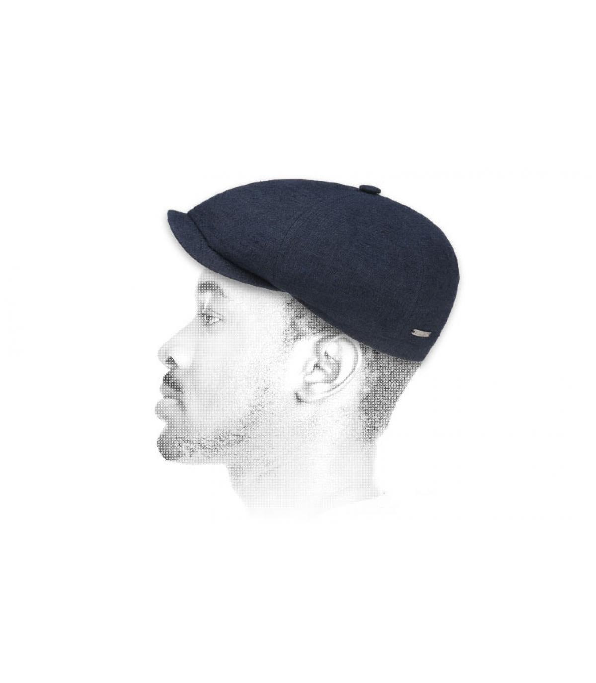 Stetson navy blue linen silk newsboy cap