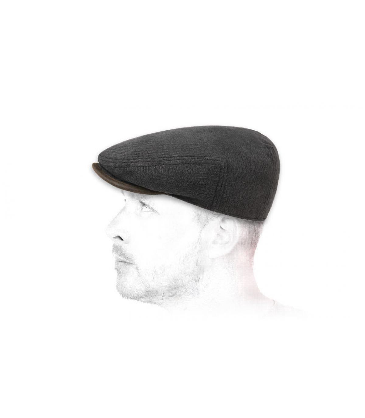 black cotton flat cap