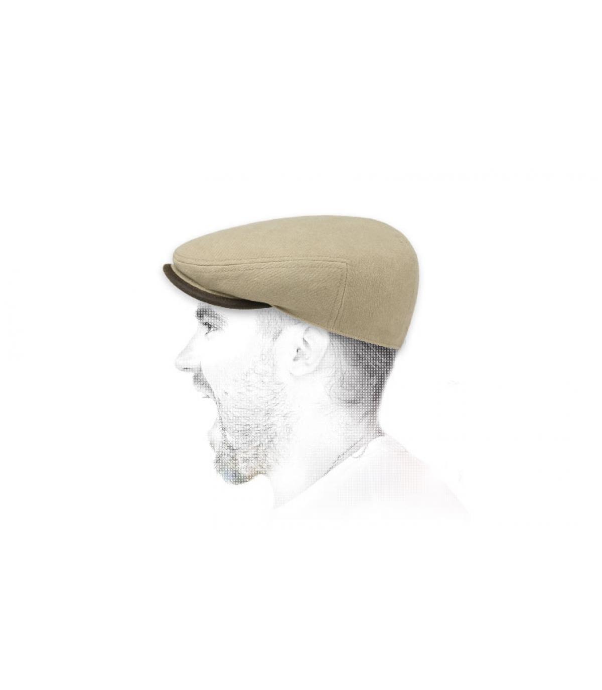 beige cotton flat cap