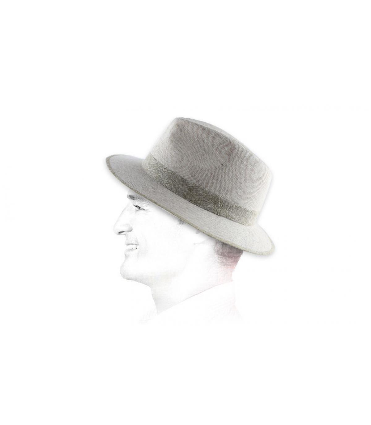 white woven hat beige braid