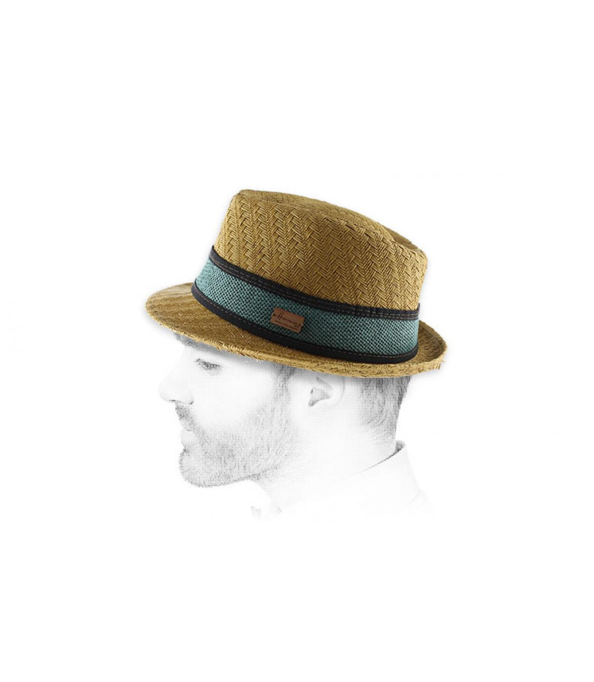 beige straw blue stripe trilby