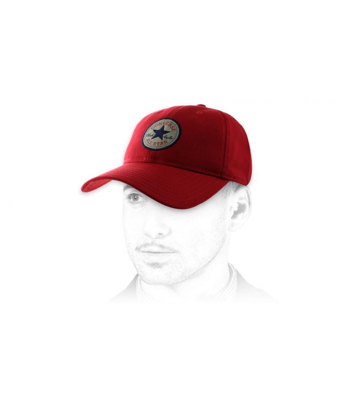 red Converse curve cap
