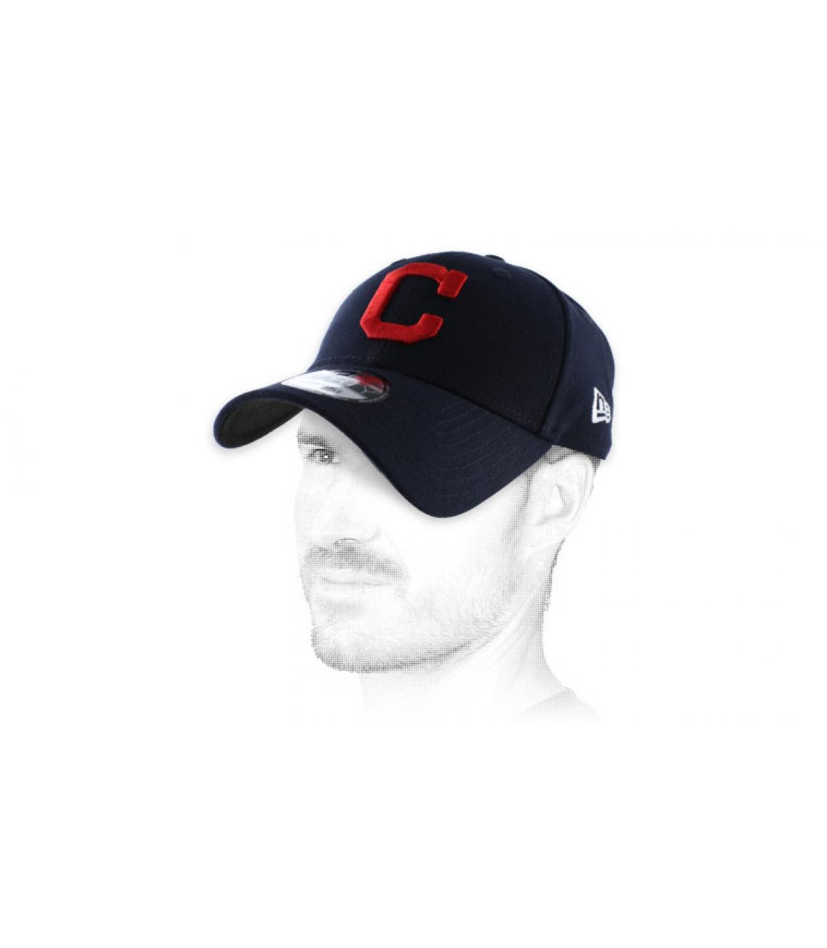 C red and blue curve cap