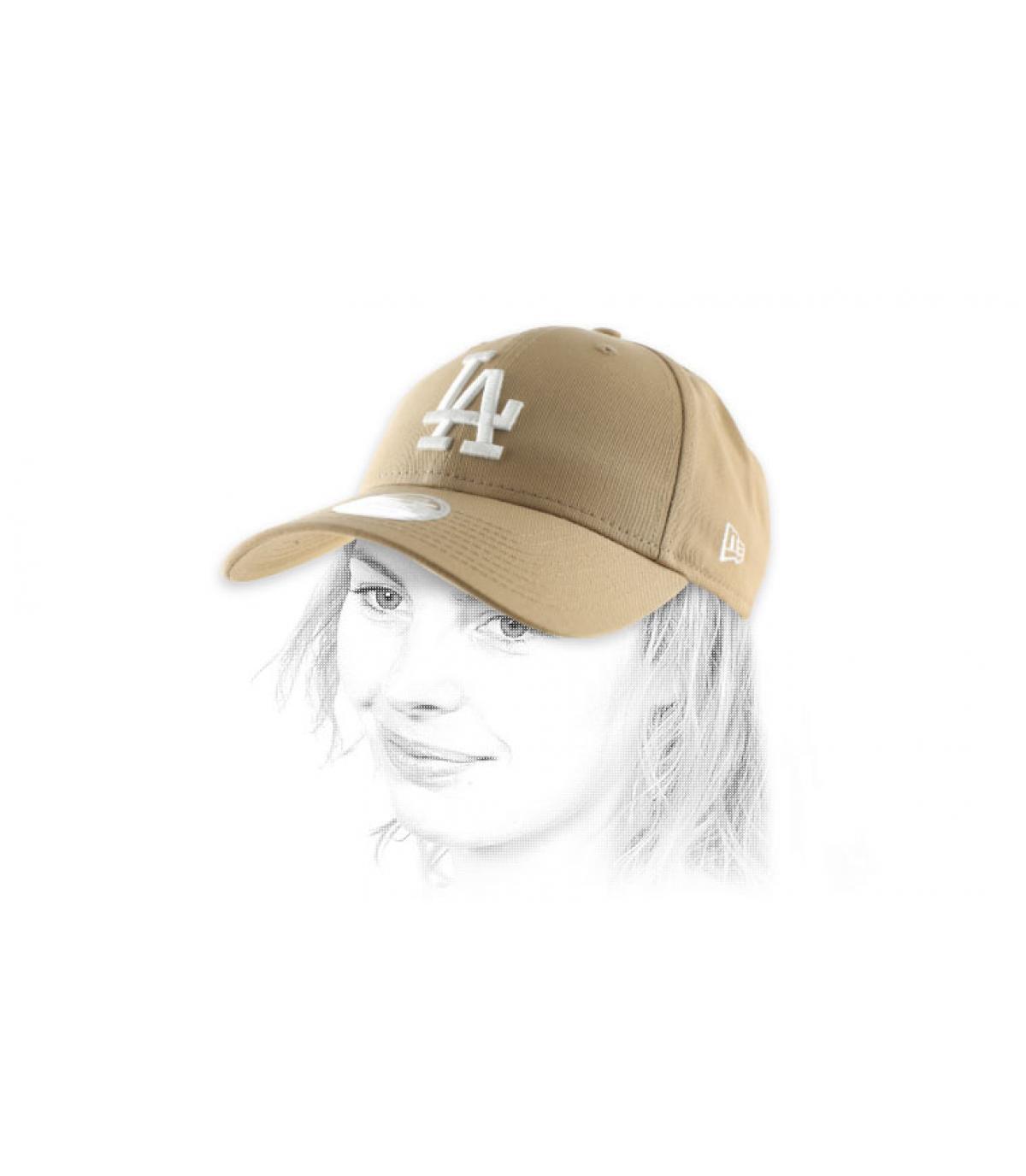 beige women LA cap
