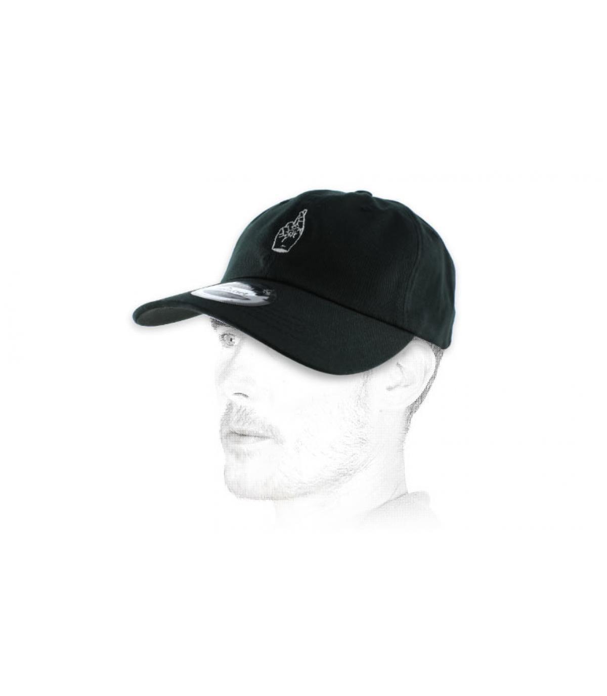 black crossed fingers curve cap