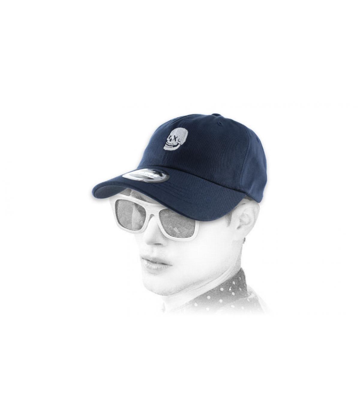 blue skull curve cap