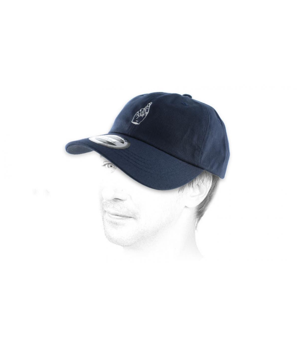 blue crossed fingers curve cap