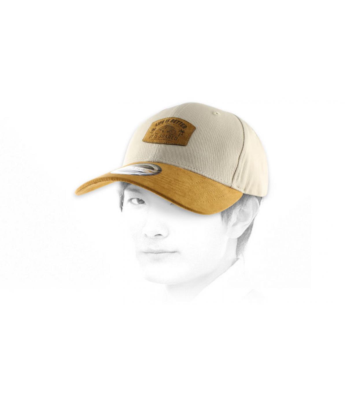 black beige tandem curve cap