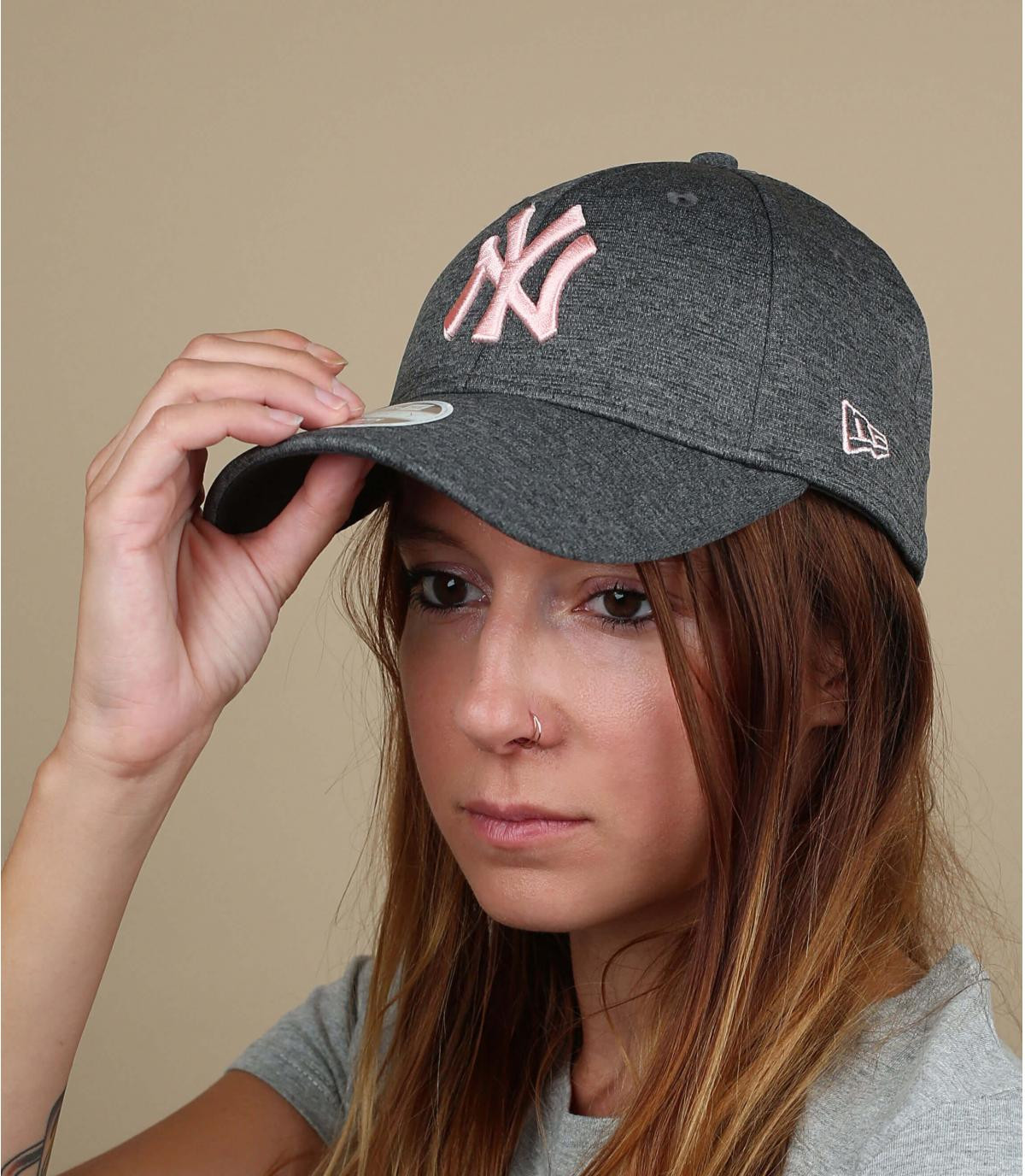 women grey pink NY cap