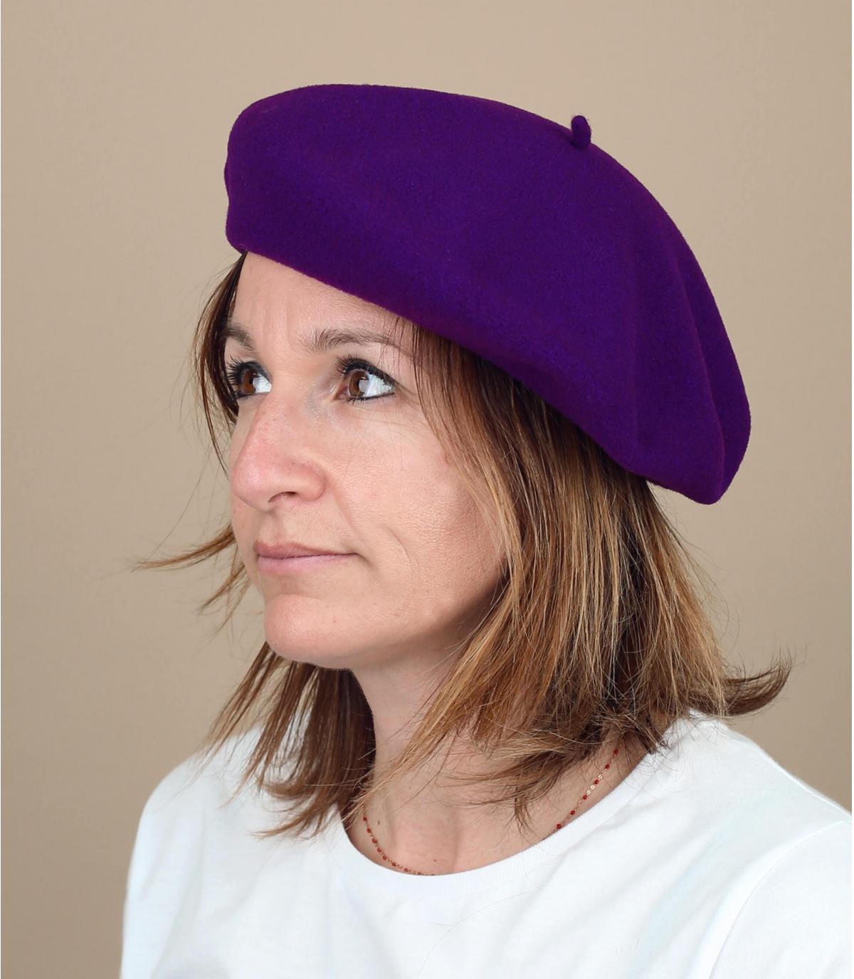 lined Basque beret purple
