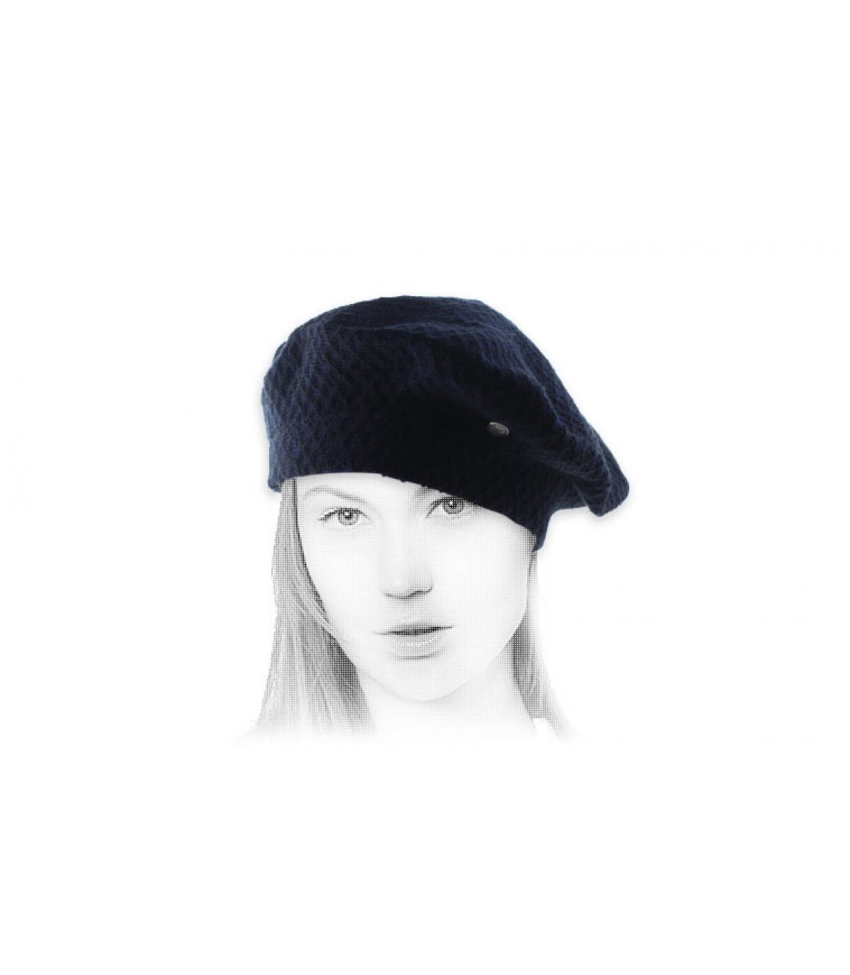 blue cotton beret Laulhère