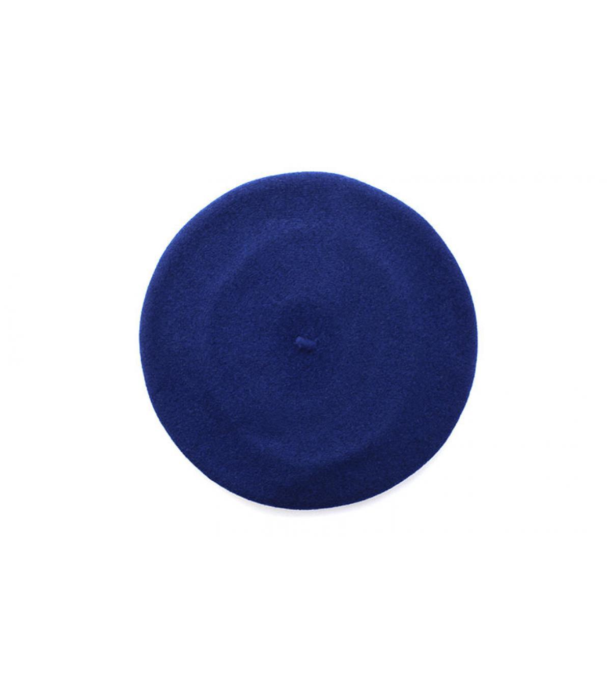ribbed hem blue beret