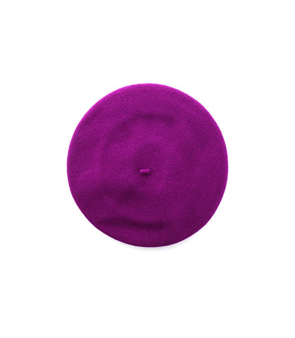 ribbed hem purple beret