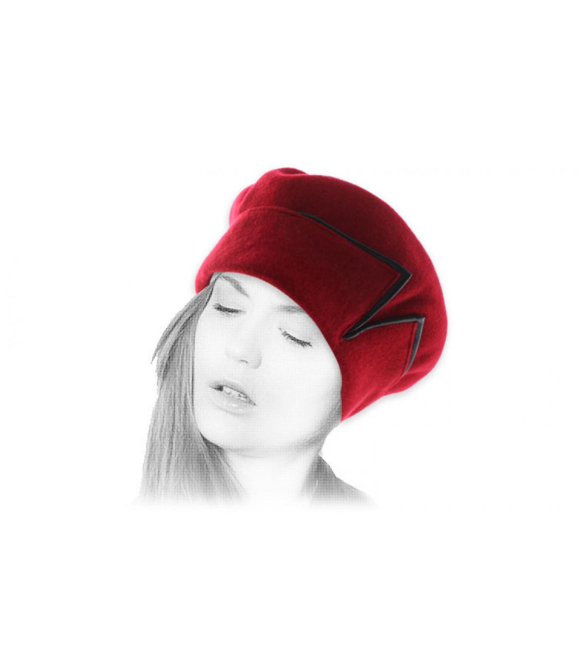 Red cuffed beret black leather