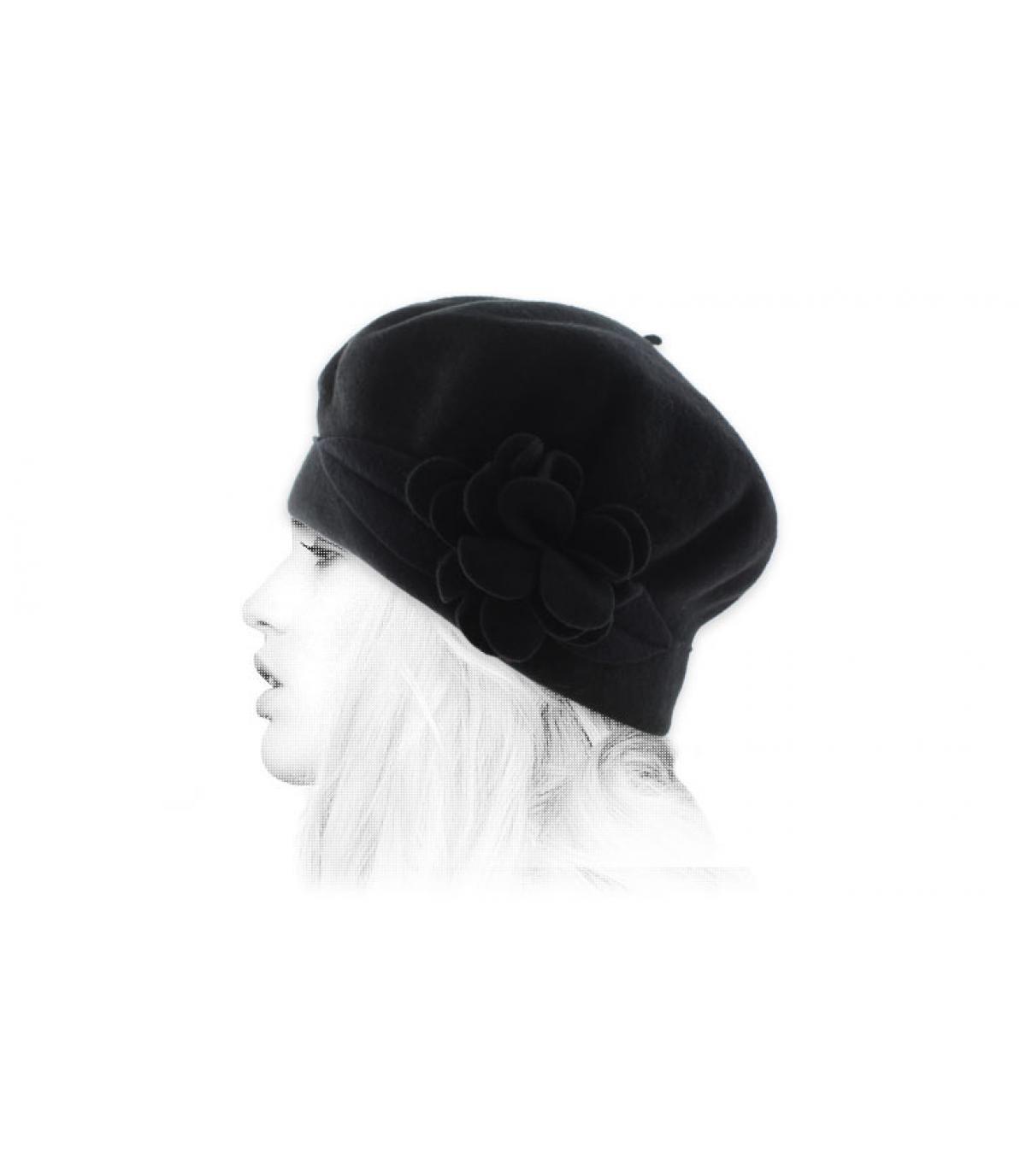 black wool beret flower
