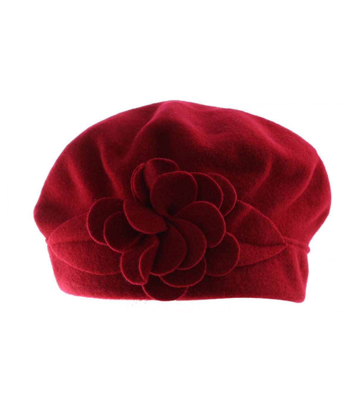 red wool beret flower