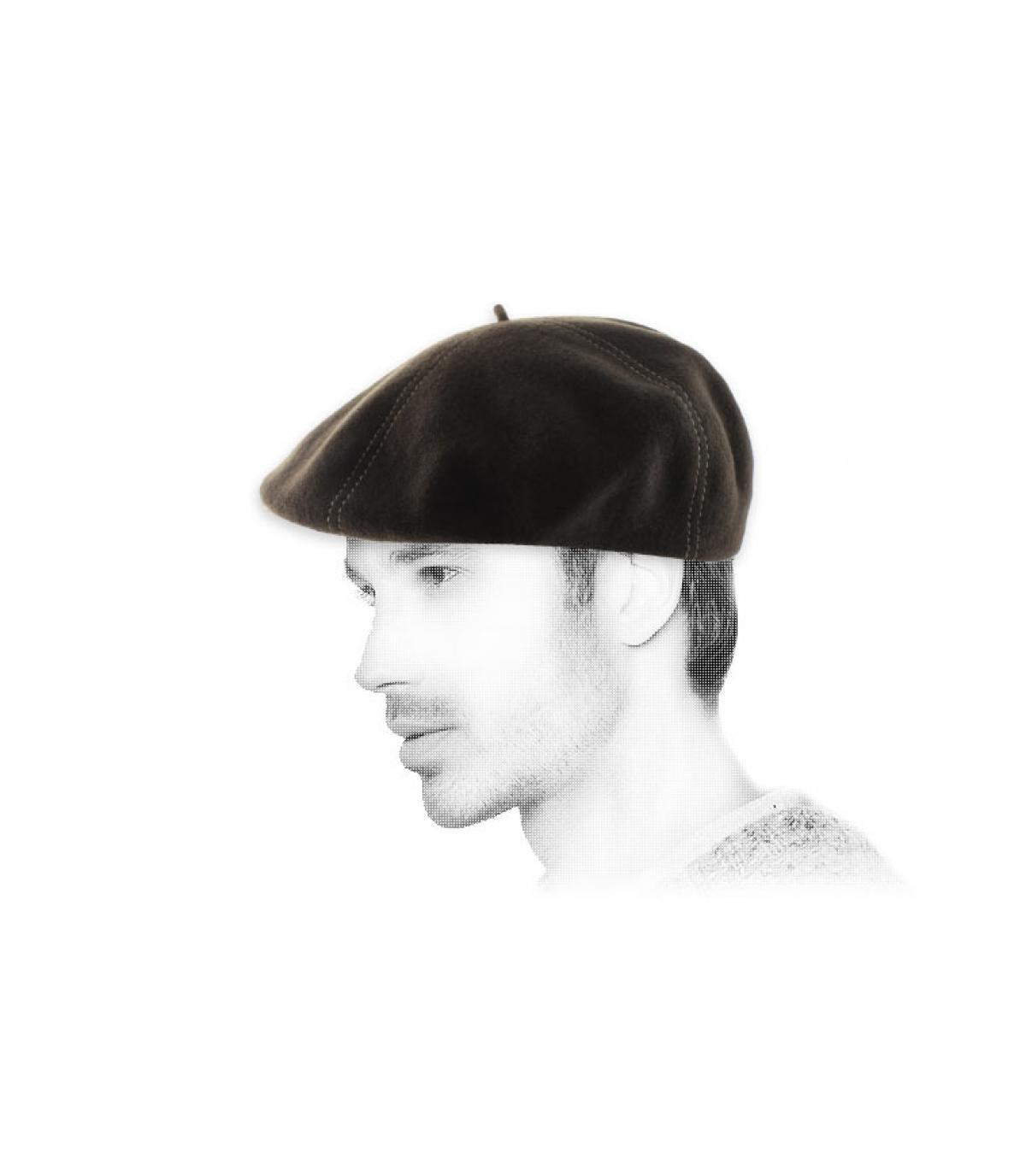 brown wool flat cap