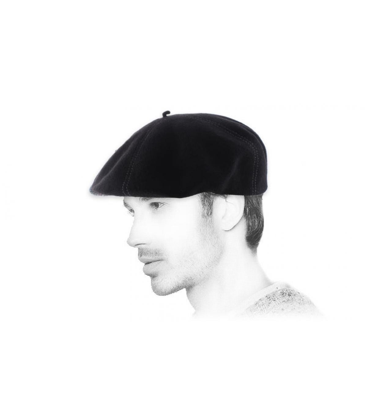 black wool flat cap