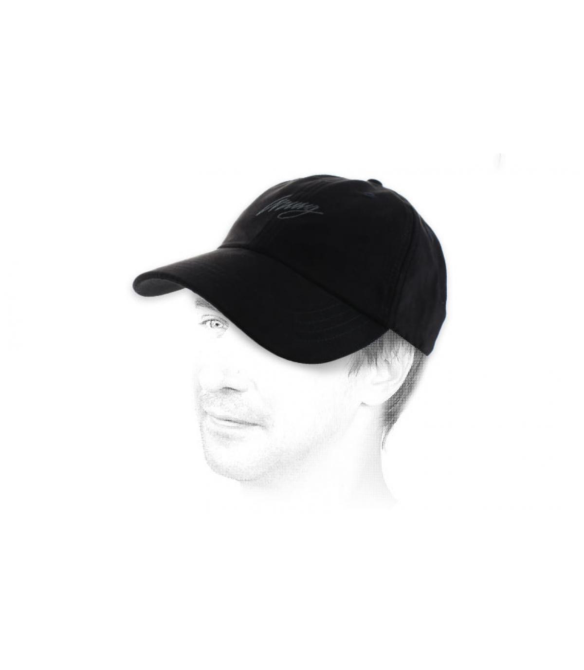 black suede curve cap