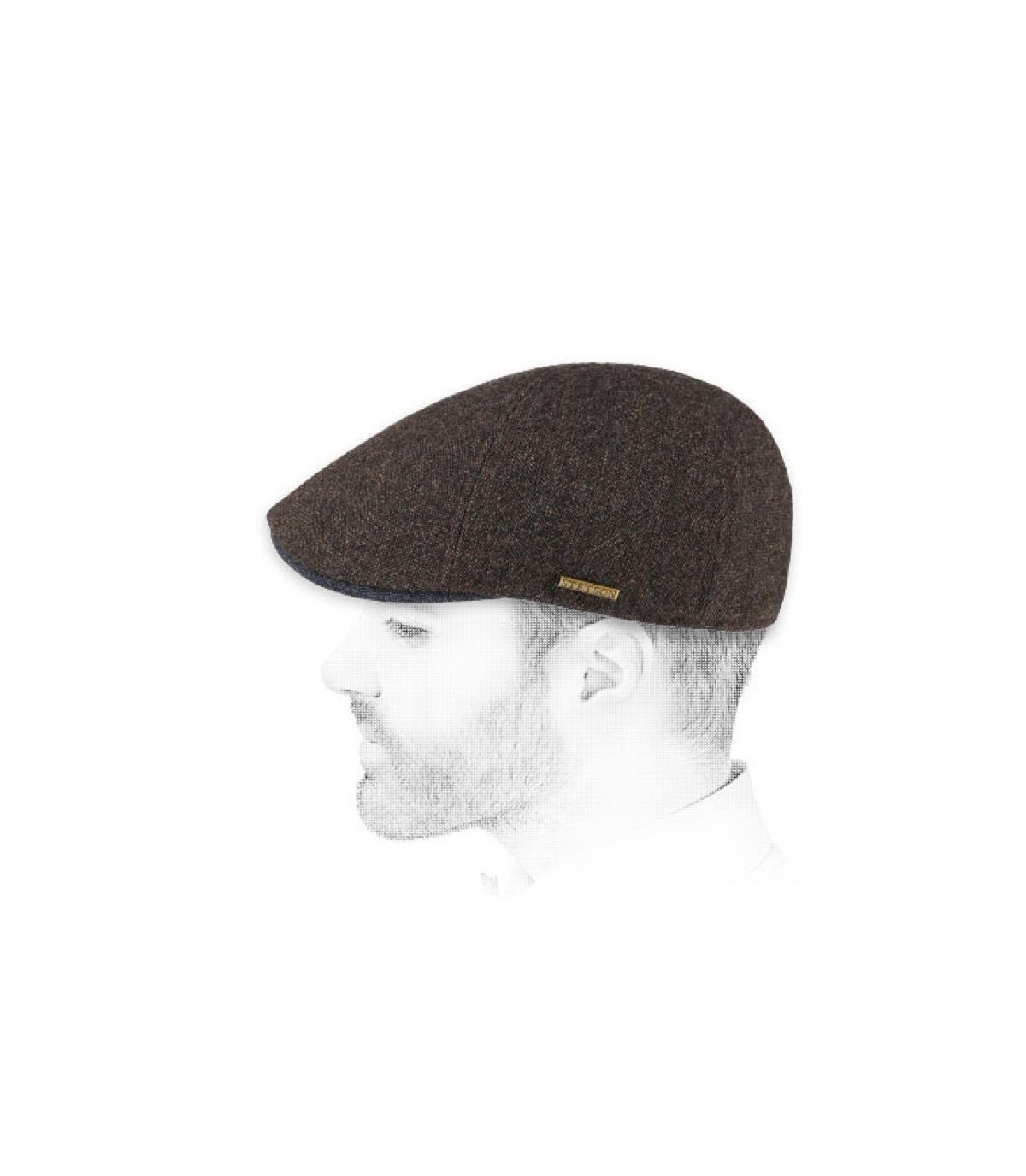 brown wool duckbill cap