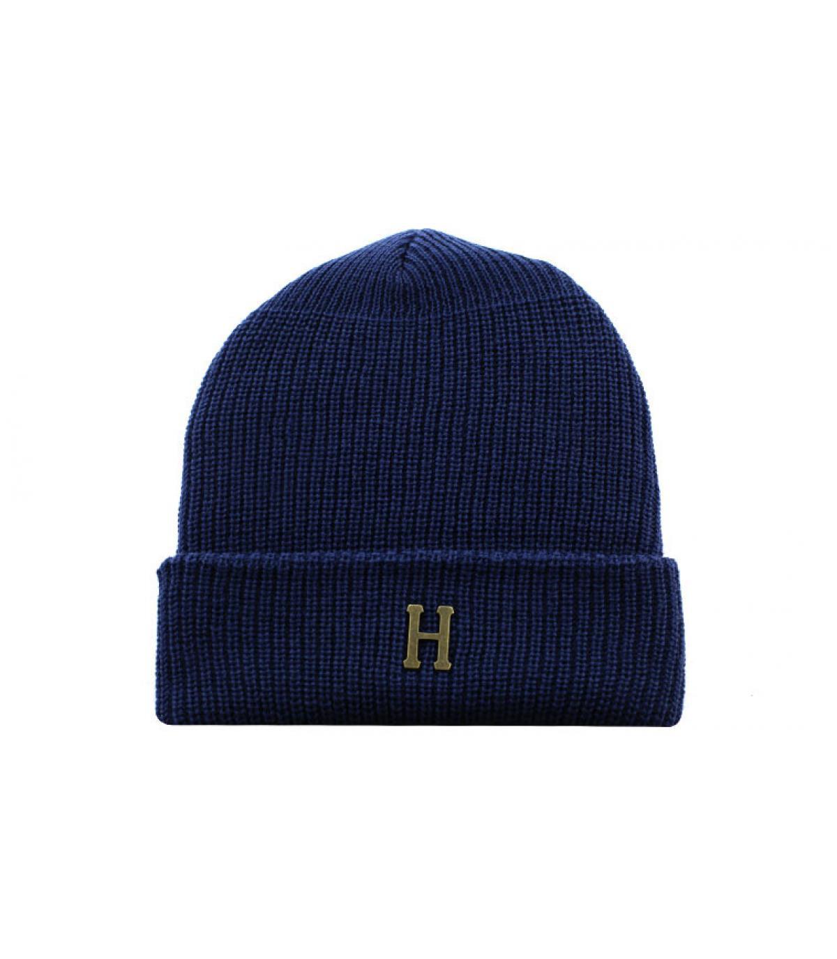 Huf blue H beanie - Brass H Military Beanie navy by Huf. Headict 2b80b2635241