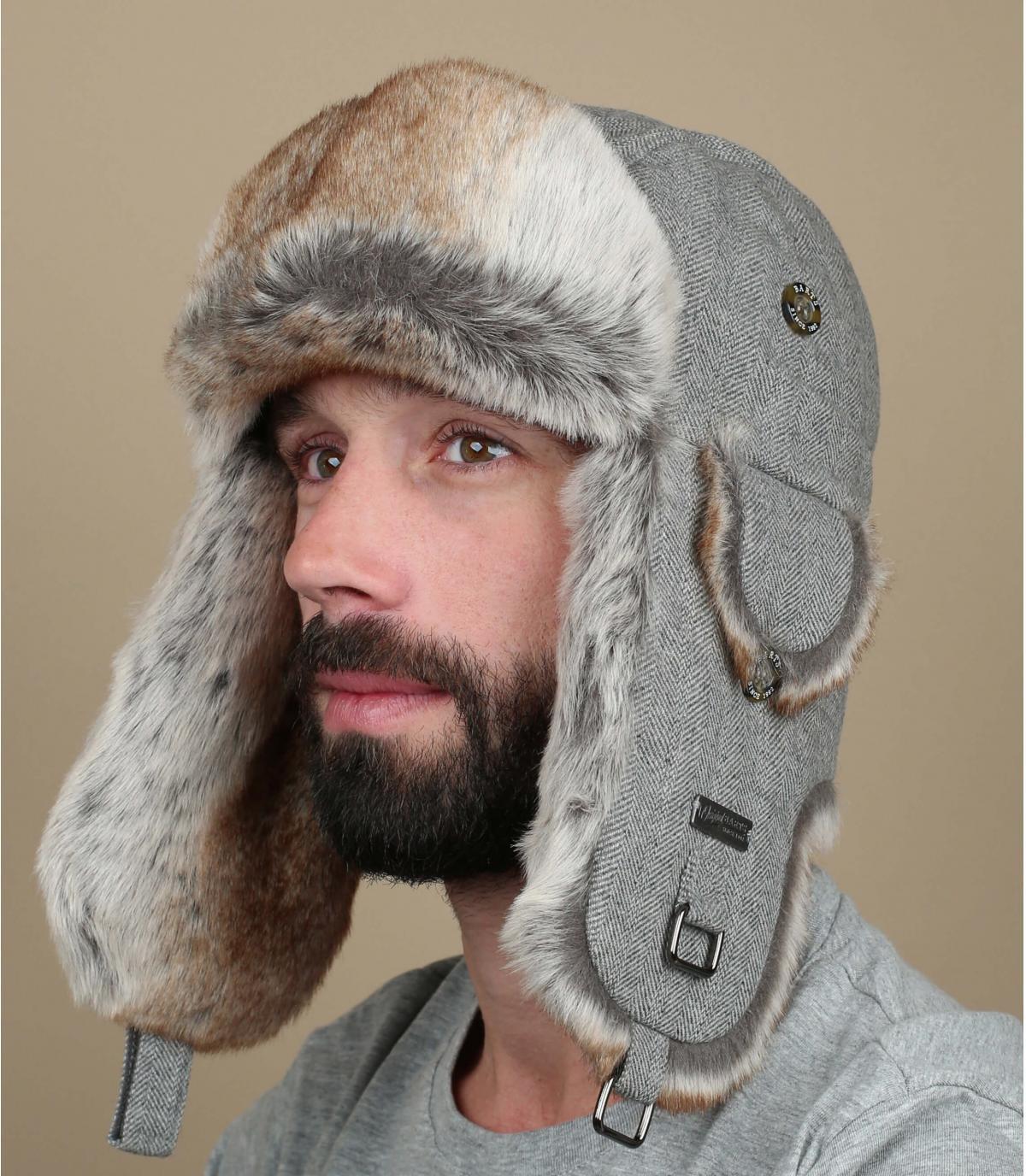 Gray kamikaze trapper hat
