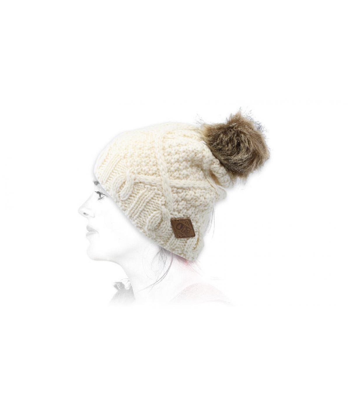 pompom beanie white wool