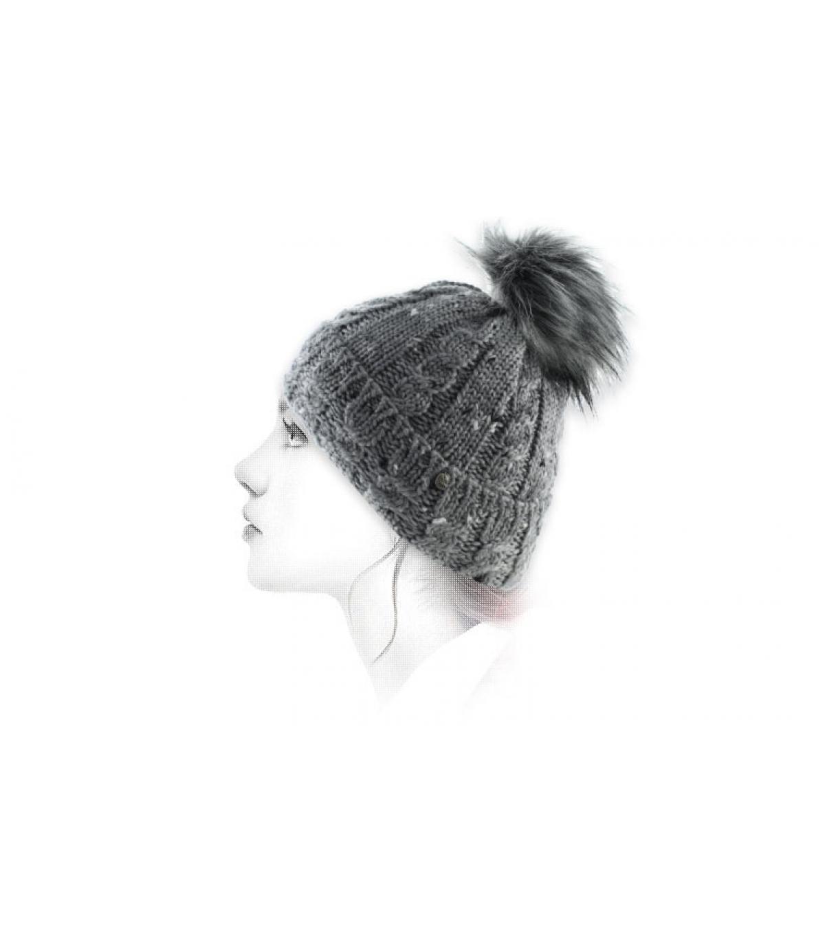 grey beanie pompom