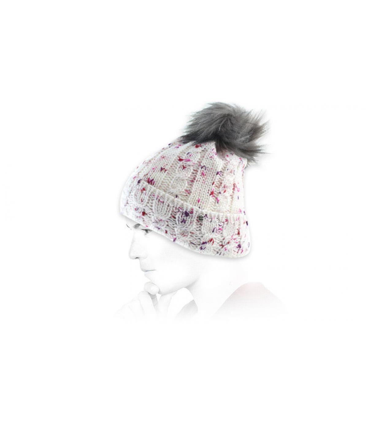 pompom beanie white pink