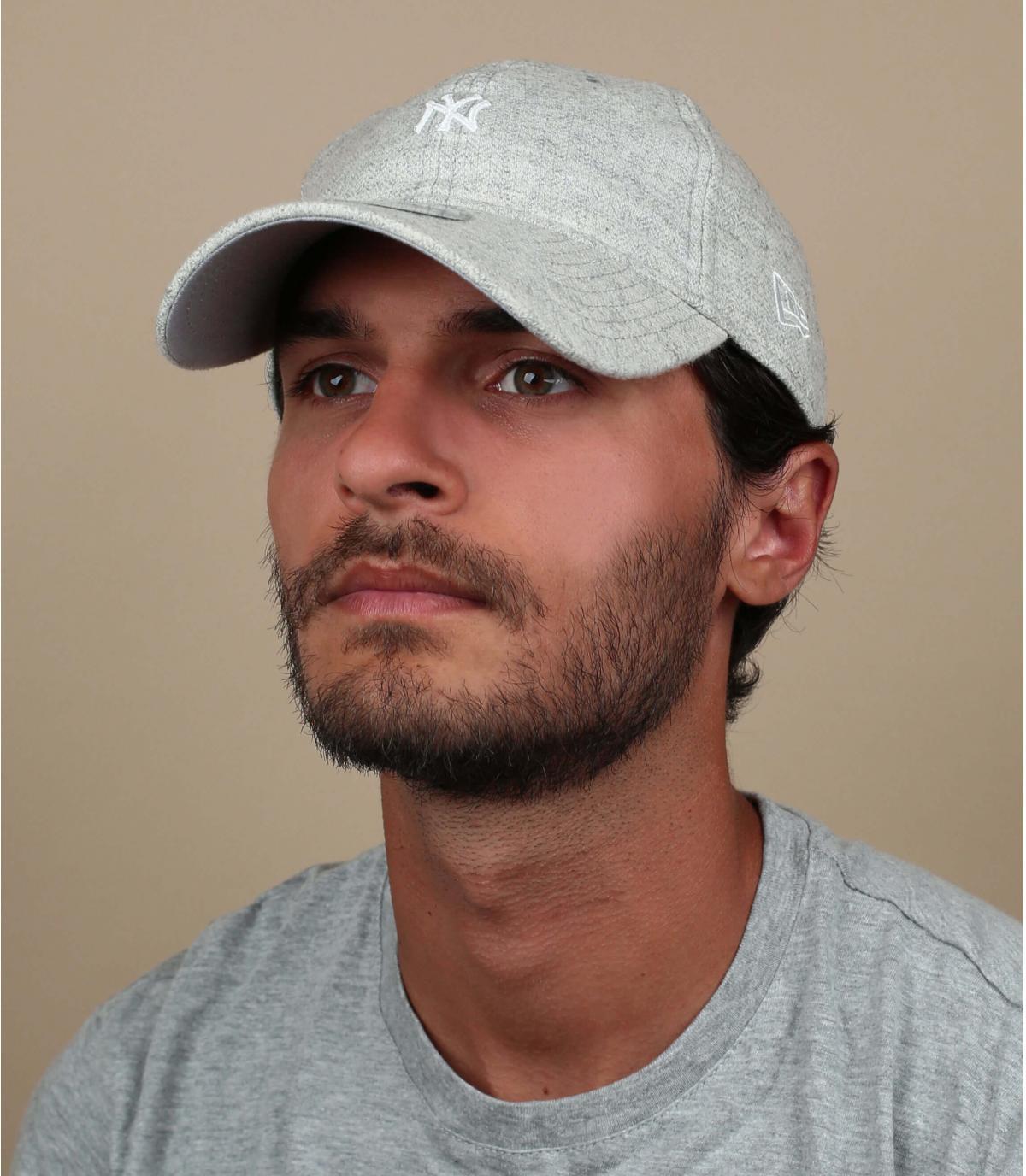 gray NY cap herringbone