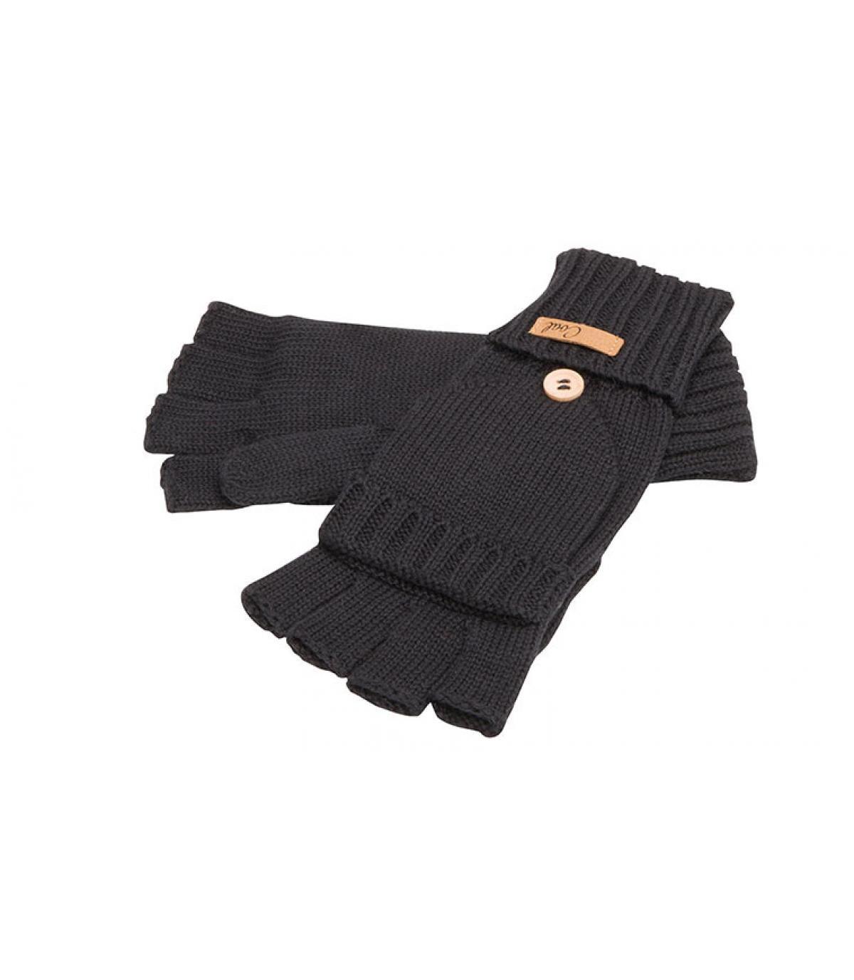 black mitten gloves