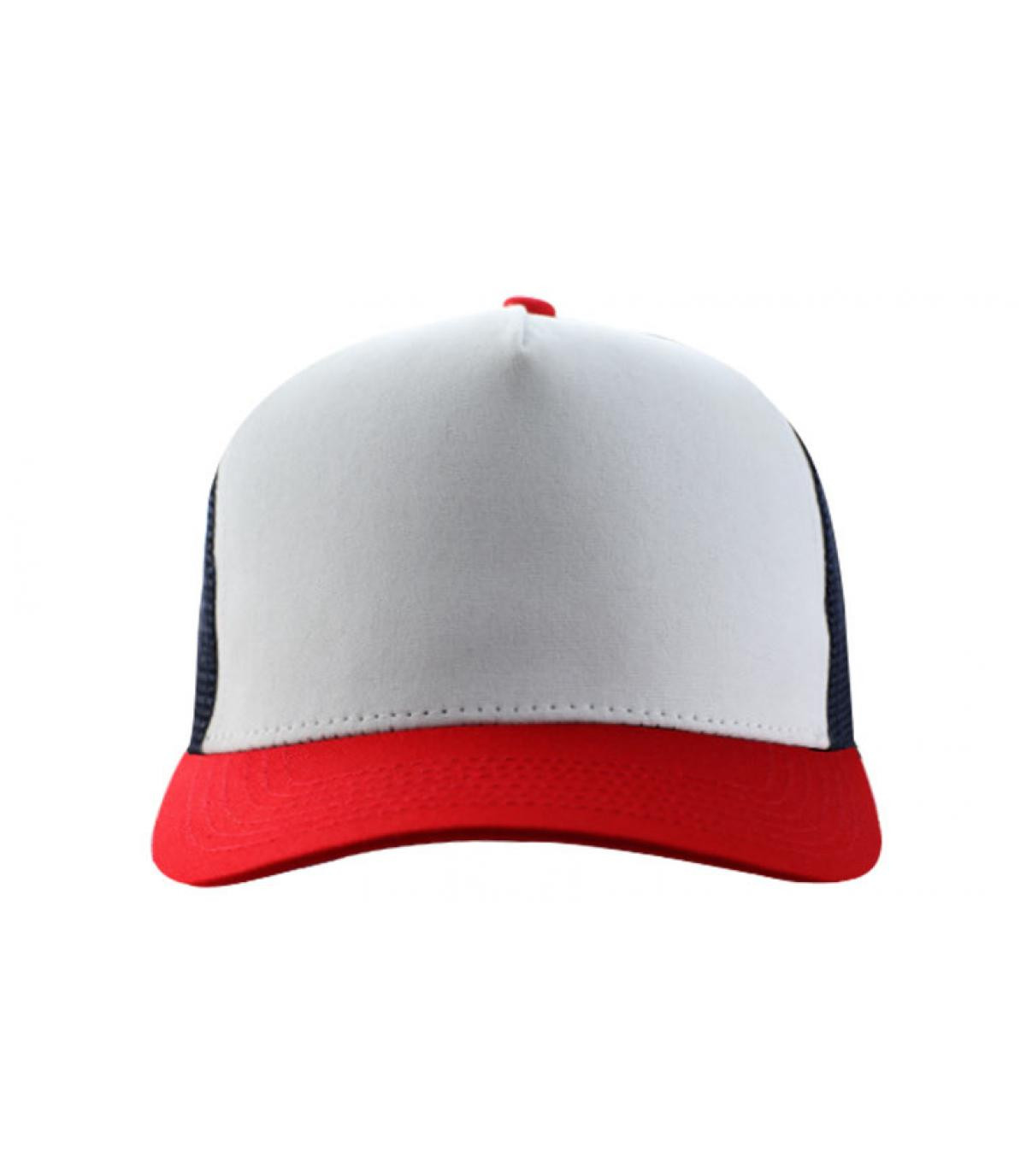 white red blue trucker cap