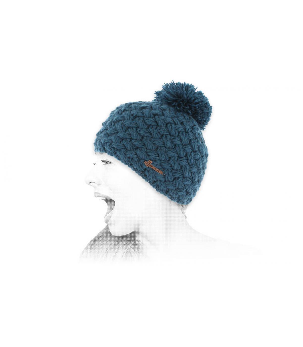 blue wool pompom beanie