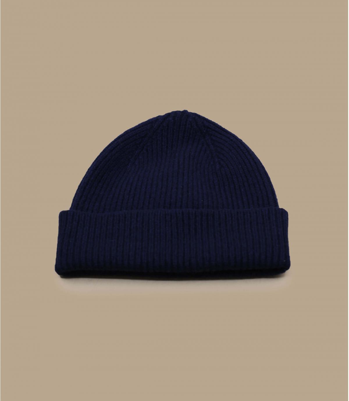navy blue cuffed beanie wool angora