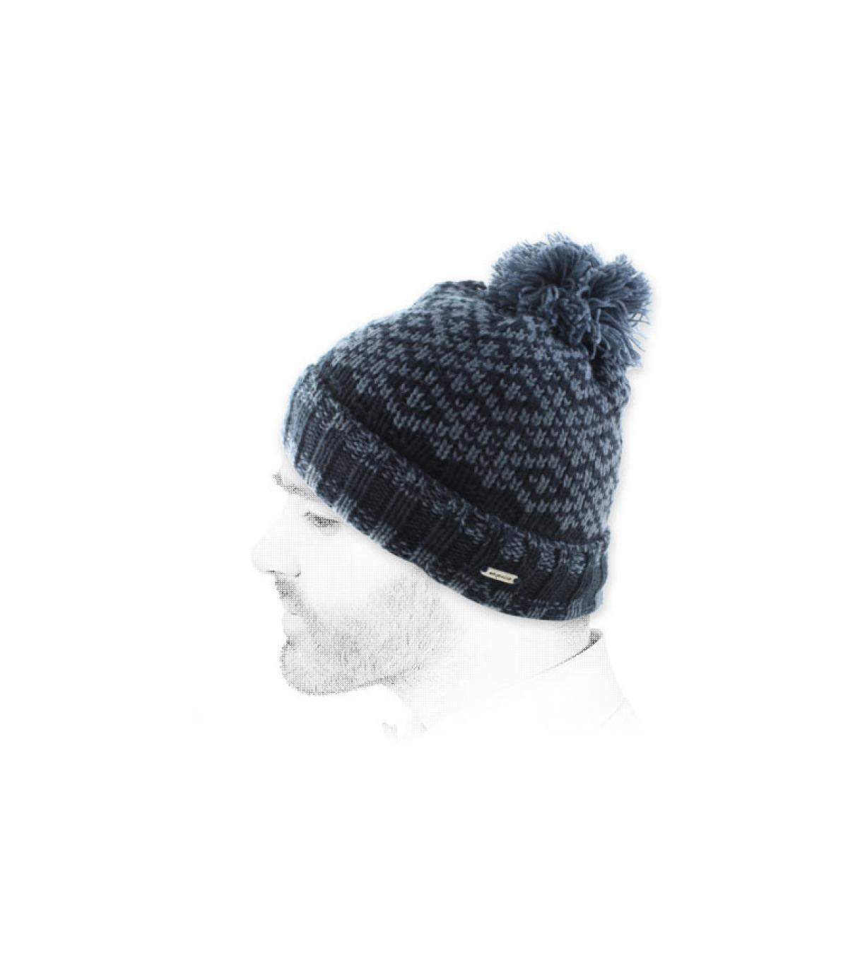 dark blue pompom beanie